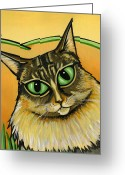 Whiskers Greeting Cards - Maine Coone Greeting Card by Leanne Wilkes