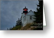 Bass Harbor Greeting Cards - Maine Lighthouse Greeting Card by John Greim