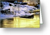 Gold Greeting Cards - Maine Winter along the Androscoggin River Greeting Card by Bob Orsillo