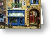 Bicycle Art Greeting Cards - Maison De Vin Greeting Card by Marilyn Dunlap