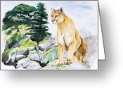 Puma Greeting Cards - Majestic Domain Greeting Card by Joette Snyder