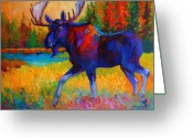 Autumn Painting Greeting Cards - Majestic Monarch - Moose Greeting Card by Marion Rose