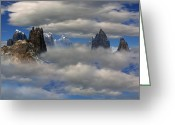 Above The Clouds Greeting Cards - Majestic Mountain above the Clouds Greeting Card by H G Mielke