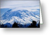 Sleeping Volcano Greeting Cards - Majestic Mt Rainier Greeting Card by Judyann Matthews