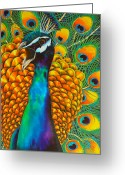 Colourful Tapestries - Textiles Greeting Cards - Majestic Peacock Greeting Card by Daniel Jean-Baptiste