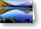 Trillium Lake Greeting Cards - Majestic Reflection Greeting Card by John Absher
