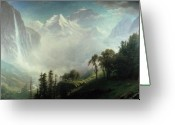 Pine Trees Painting Greeting Cards - Majesty of the Mountains Greeting Card by Albert Bierstadt