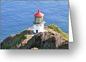 Luz Greeting Cards - Makapuu Lighthouse 1065 Greeting Card by Michael Peychich