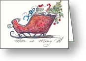 Holiday Notecard Greeting Cards - Make It Merry Greeting Card by Michele Hollister - for Nancy Asbell