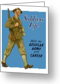 Second Greeting Cards - Make The Regular Army Your Career Greeting Card by War Is Hell Store