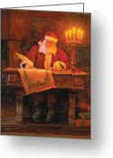 Claus Greeting Cards - Making a List Greeting Card by Greg Olsen