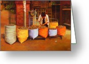 Street Vendor Greeting Cards - Making a Living Greeting Card by Sue  Darius