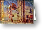 Ancient Ruins Greeting Cards - Making Adjustments Greeting Card by Bob Orsillo