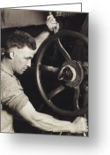 Black And White Photos Painting Greeting Cards - Making Auto Tires Greeting Card by LW Hine