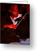 Violinist Greeting Cards - Making Boul Mich Dance Greeting Card by David Bearden