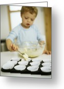 Cup Cakes Greeting Cards - Making Cakes Greeting Card by Ian Boddy