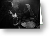 Steven Gray Greeting Cards - Making Chapati Greeting Card by Steven Gray