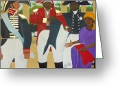 Bataille Greeting Cards - Making of the Haitian Flag Greeting Card by Nicole Jean-Louis