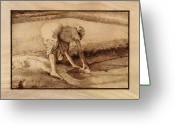 Figure Pyrography Greeting Cards - Making salt Greeting Card by Conrad  Pinto