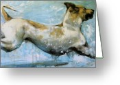 Canine Art Greeting Cards - Making Waves Greeting Card by Mary Leslie