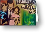 Conservative Greeting Cards - Malcolm X Fatherhood 1 Greeting Card by Tony B Conscious