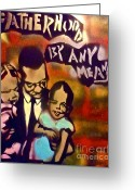 Sit-ins Painting Greeting Cards - Malcolm X Fatherhood 2 Greeting Card by Tony B Conscious