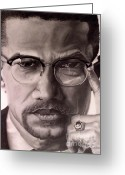 Graphite Drawings Greeting Cards - Malcolm X Greeting Card by Wil Golden