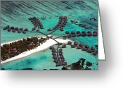 Green Day Greeting Cards - Maldives aerial Greeting Card by Jane Rix