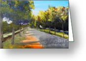 Drain Painting Greeting Cards - Maldon Victoria Australia Greeting Card by Pamela  Meredith