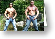 Starrs Greeting Cards - Male Muscle Duo Greeting Card by Jake Hartz
