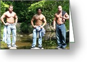 Starrs Greeting Cards - Male Muscle Trio Greeting Card by Jake Hartz