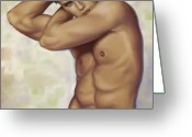 Man Digital Art Greeting Cards - Male nude 1 Greeting Card by Simon Sturge