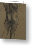Nude Study Greeting Cards - Male Nude Study Greeting Card by Evelyn De Morgan