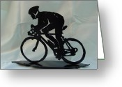 Male Sculpture Greeting Cards - Male road racer Greeting Card by Steve Mudge