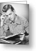 Young Men Greeting Cards - Male Student Reading, (b&w), Greeting Card by George Marks