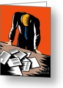 Depressed Greeting Cards - Male Worker Depressed Unemployed Greeting Card by Aloysius Patrimonio