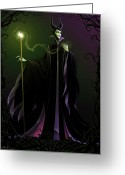 Green Vines Greeting Cards - Maleficent Greeting Card by Christopher Ables
