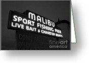 Ocean Scenes Greeting Cards - Malibu Pier Sign In BW Greeting Card by Glenn McCarthy Art and Photography