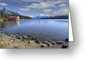 Canadian Rockies Greeting Cards - Maligne Lake -- Jasper Alberta Canada Greeting Card by Daniel Hagerman
