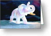 Elephant Watercolor Greeting Cards - Mamas White Elephant Greeting Card by Sharon Mick