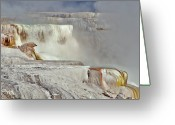 Hot Springs Greeting Cards - Mammoth Hot Spring Terraces Greeting Card by Photo By Daryl L. Hunter - The Hole Picture