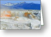 Cloudscape Photographs Greeting Cards - Mammoth Hot Springs Greeting Card by Photography Moments - Sandi