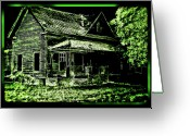Abandoned Houses Digital Art Greeting Cards - Man Abandons Nature Reclains Greeting Card by Leslie Revels Andrews