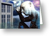 Surrealist Digital Art Greeting Cards - Man Alone Within the Death of Reason Greeting Card by Jon Gemma In Your Living Room