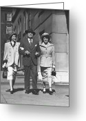Full Skirt Photo Greeting Cards - Man And Two Women Walking On Sidewalk, (b&w) Greeting Card by George Marks