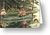Fish Painting Greeting Cards - Man and Woman Fishing Greeting Card by JQ Licensing