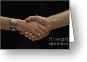 Handshake Greeting Cards - Man and woman shaking hands Greeting Card by Sami Sarkis
