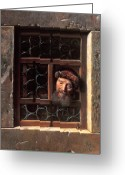 Peering Greeting Cards - Man at a Window Greeting Card by Samuel van Hoogstraten