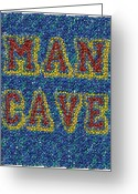 Valuable Mixed Media Greeting Cards - Man Cave Bottle Cap Mosaic Greeting Card by Paul Van Scott