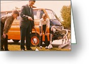 45-49 Years Greeting Cards - Man Demonstrates Lawn Tool To Boys, 1960s Greeting Card by Archive Holdings Inc.
